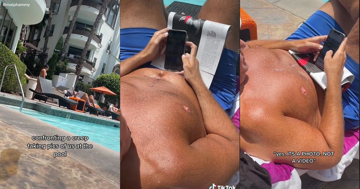 Creep Taking Pictures Of Girls By The Pool Called Out In Video Where They Confront Him