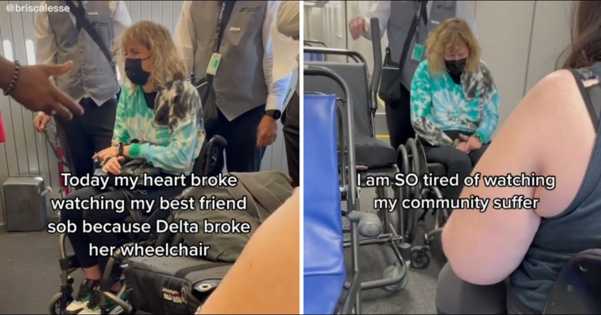 Woman Breaks Down Crying After Delta Airlines Breaks Her Wheelchair