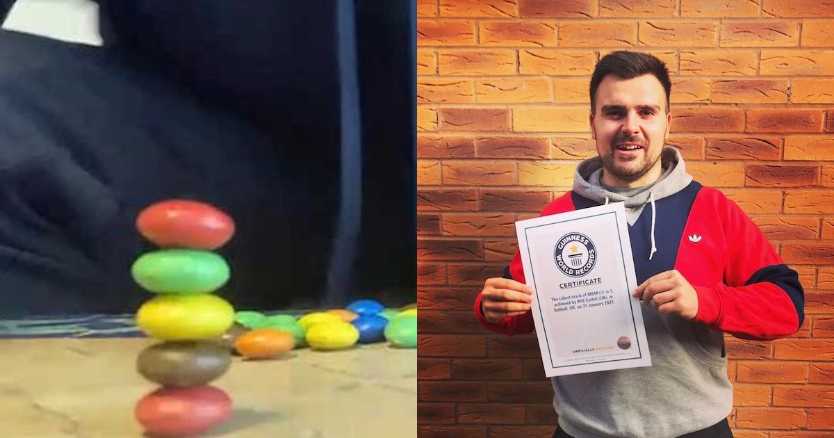 Want To Break This Guy's World Record By Stacking 6 M&M's? You Actually Can.