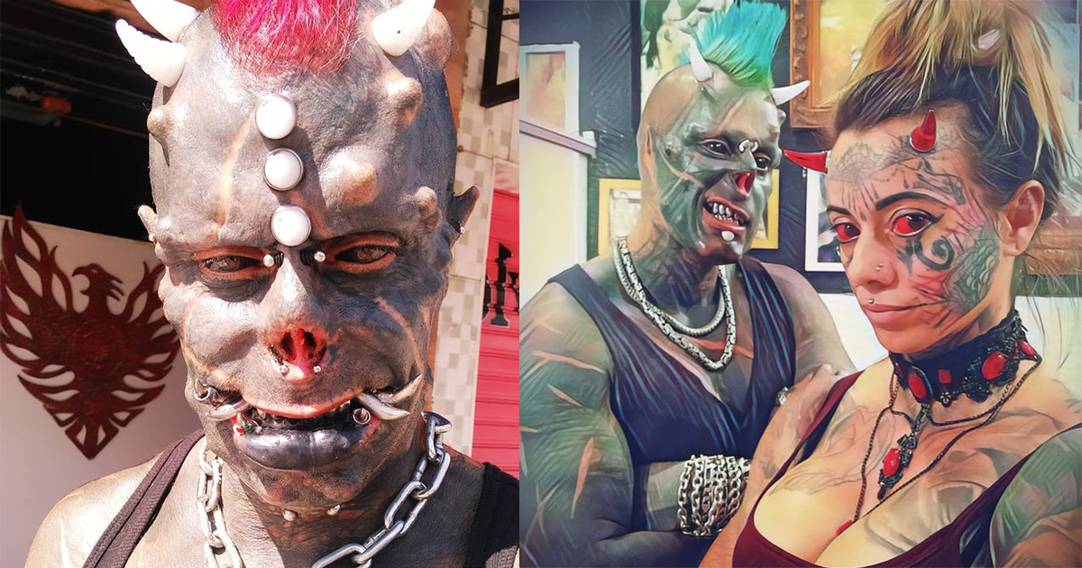 Man Tattoos Face, Cuts Off Finger And Wears Tusks To Become 'Human Satan'