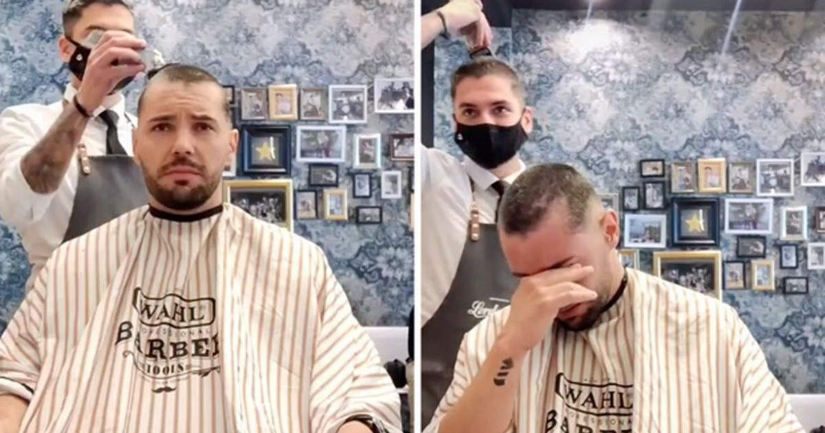 Cancer Patient Breaks Down After Barber Shaves Off His Own Head As An Act Of Solidarity.