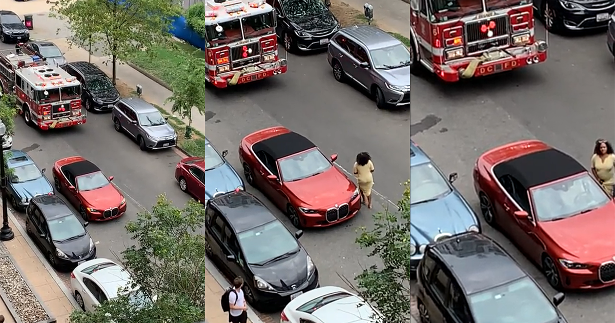 'Karen' Illegally Blocks Firetruck And Takes Her Time Moving Her Car