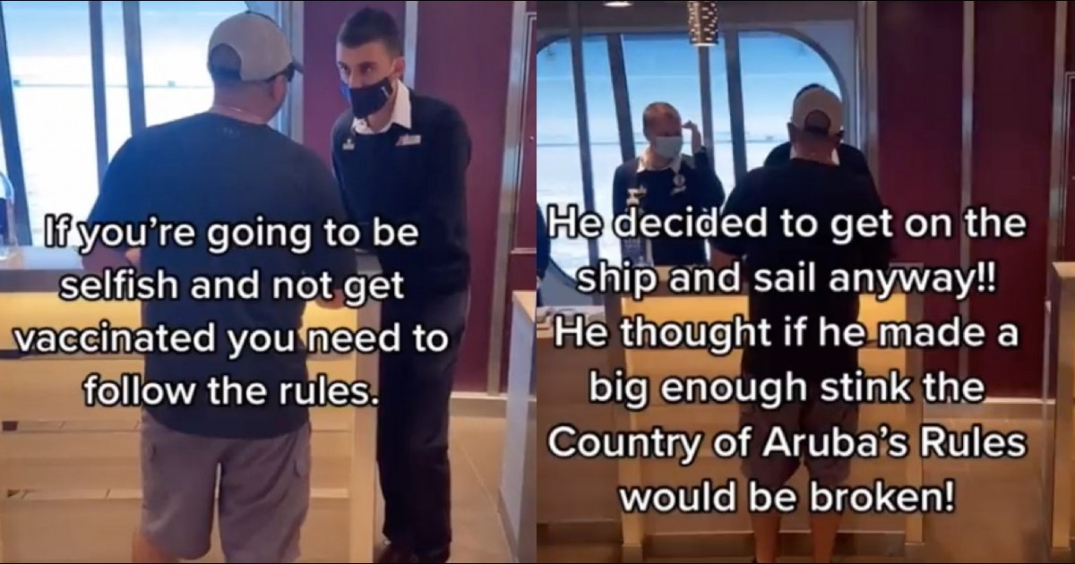Male Anti-Vax 'karen' Has Meltdown After Being Denied Entry On Cruise Ship To Aruba