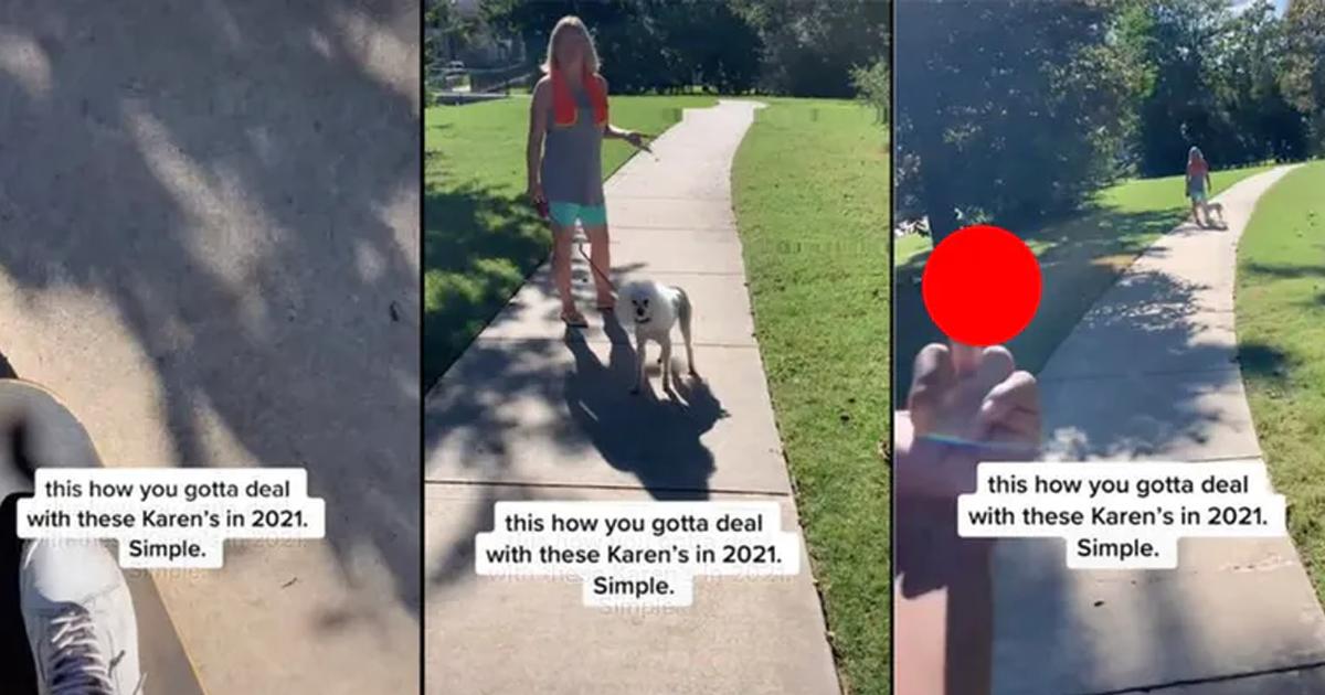 Tiktoker Shuts Down Karen Who Allegedly Pushed Him Off Skateboard