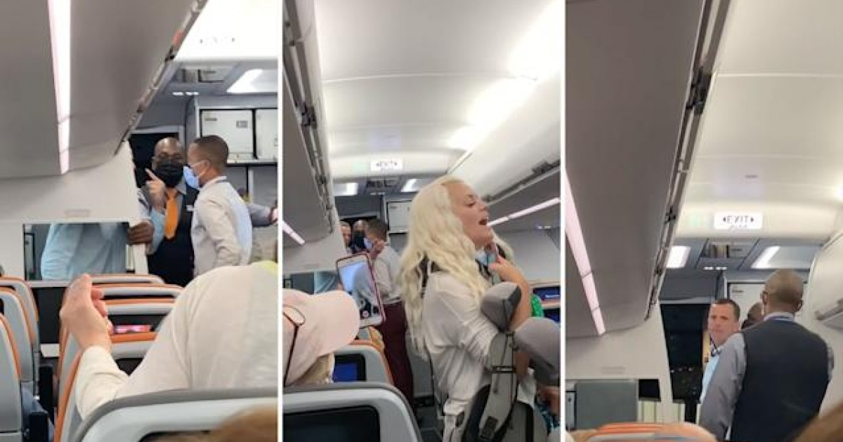 Shameful Video Shows Rude Couple Shouting And Swearing At JetBlue Staff After Being Kicked Off Plane In Mask Row
