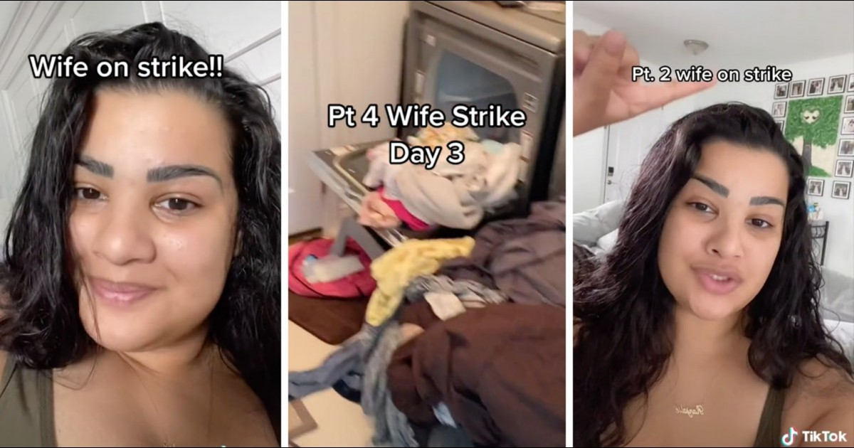 """Woman Goes On Strike After Husband Says He """"Does All The Cleaning Around Here"""""""