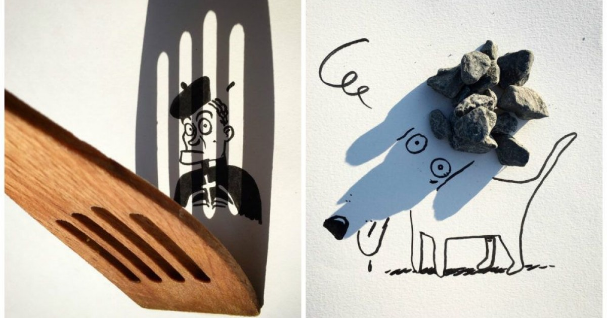 Creative Artist Turns Shadows Of Everyday Life Items Into Funny Sketches